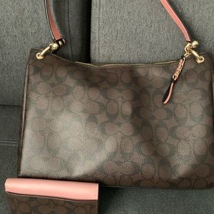 Coach Monogram C Shoulder Handbag w/ wallet